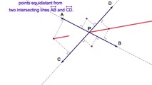 9-11. The Locus of Points Equidistant from Two Intersecting Lines and at a Fixed Distance from the Point of Intersection of the Two Lines